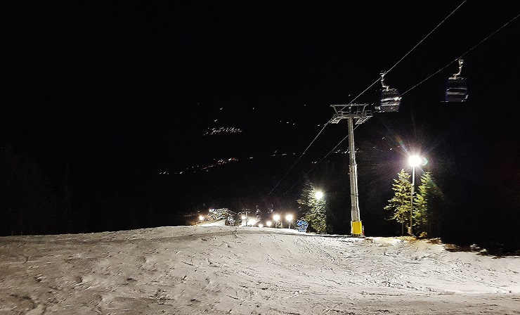 Looking down the night ski run