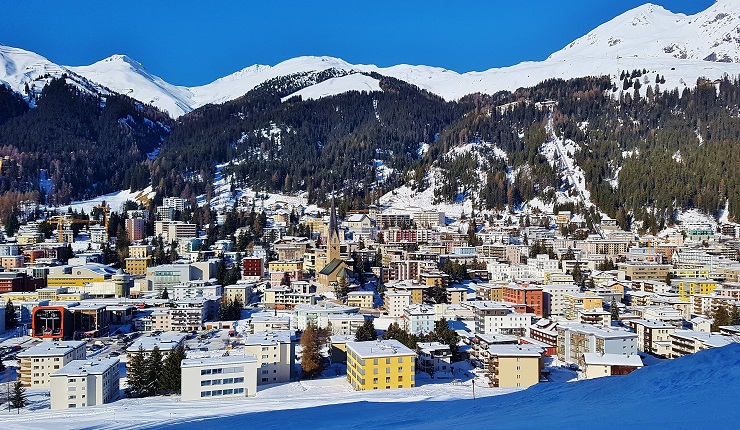 Overlooking the snow covered city of Davos