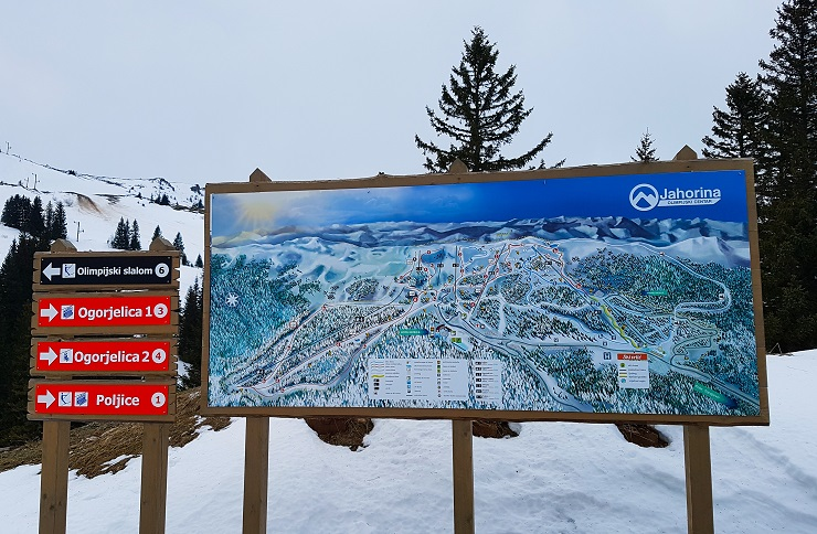 Map of the ski runs in Jahorina