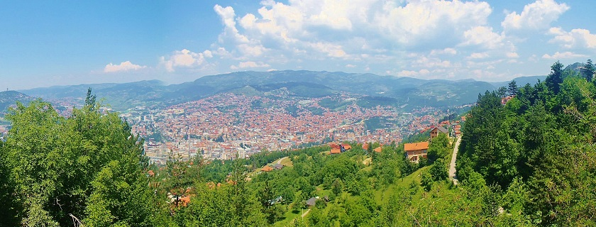 Overlooking Sarajevo from the surrounding mountains