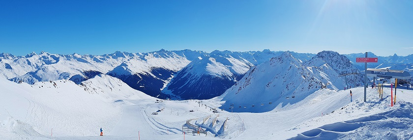 Panoramic view of the Swiss Alps and Davos ski runs