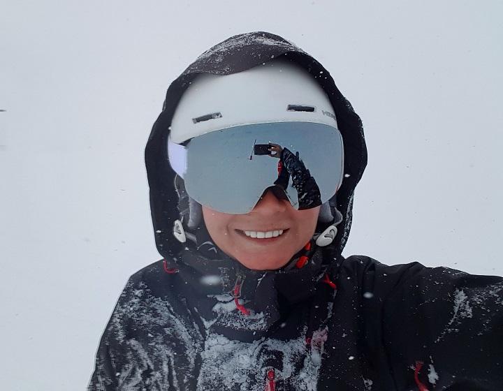 MelB selfie in ski gear on the snowy slopes of St Moritz