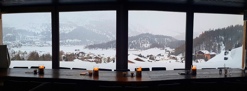 View over lake St Moritz from the hotel bar