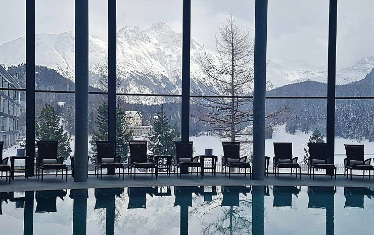 View of the snow covered Swiss Alps from the indoor pool at the Palace Hotel