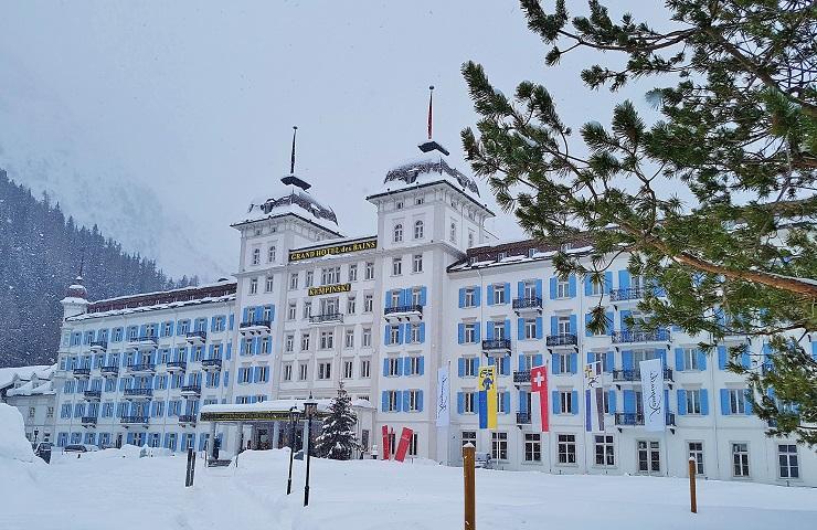 Outside of the amazing Kempinski Grand Hotel