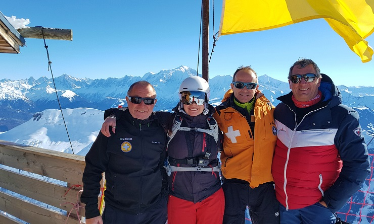 Mel B with three of the La Clusaz rescue team on the mountain