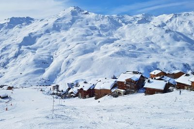 Overlooking the snow covered village of Grand Reberty in Les Menuires, France