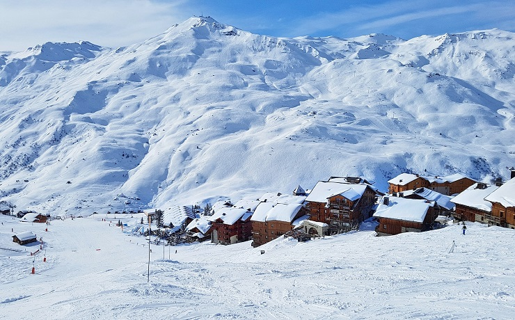 Skiing in the village of Grand Reberty in Les Menuiesres, France