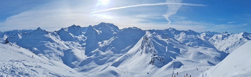 Panoramic view of the snow covered French Alps from Les Menuires Ski Resort