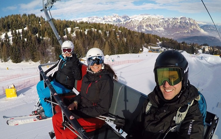 Selfie of three of us on the chairlift