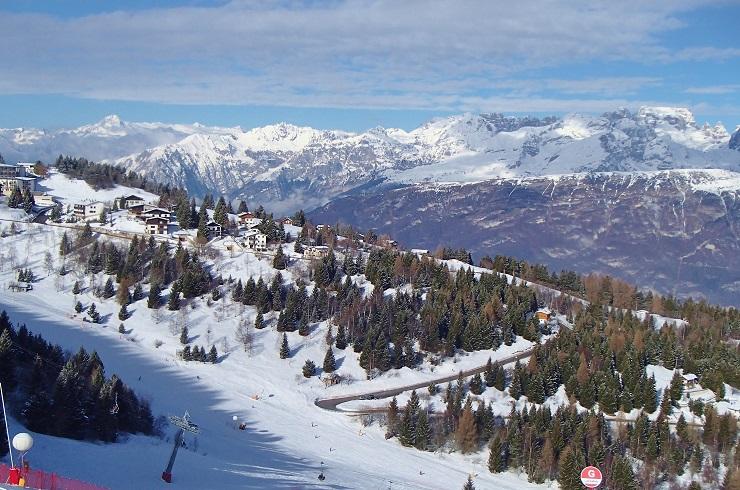 View over Monte Bondone ski resort