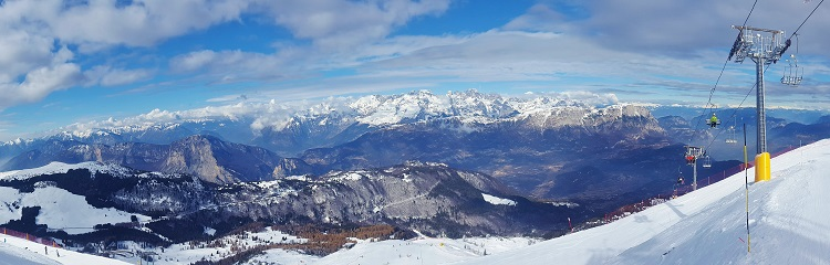 Panoramic views of the Dolomites from the top of Mt Bondone ski resort