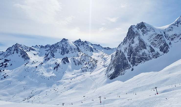 Snow covered mountains in Grand Tourmalet