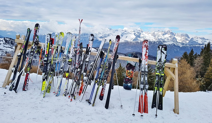 Skis lined up with mountainous backdrop