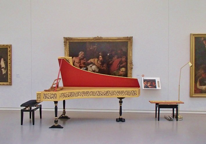 Harpsichord set up ready for a performance inside Le Musée des Beaux Arts