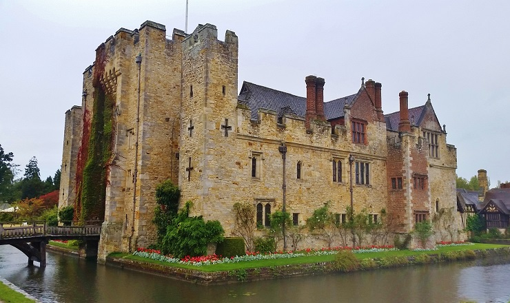 Complete view of the side of Hever Castle including moat and drawbridge