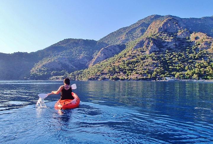 Mel paddling away while kayaking on the Blue Lagoon