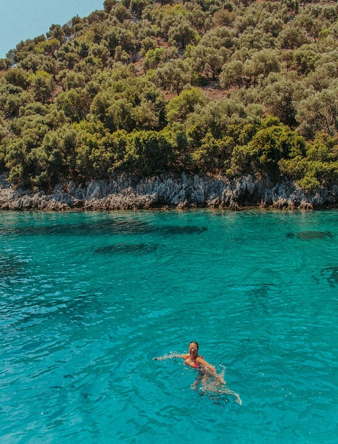 Swimming in the turquoise water of the Dalaman coastline