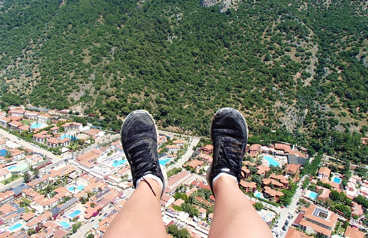 Feet selfie while paragliding over Oludeniz