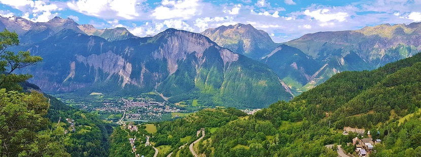 Panoramic views over mountains and valley in the Alps