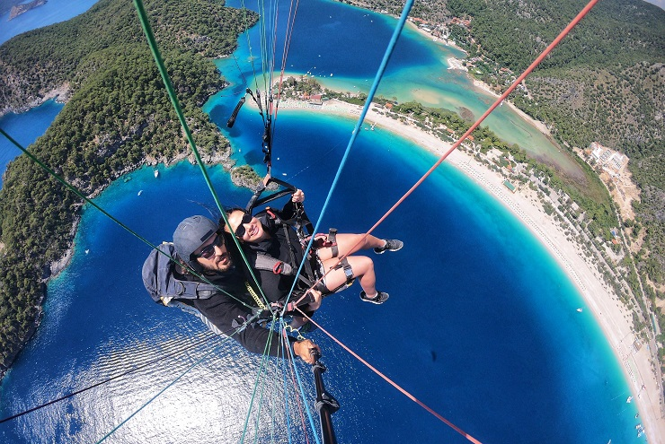 Paragliding selfie over the Blue Lagoon