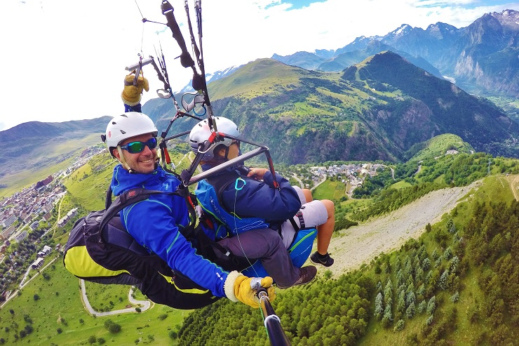 Selfie while paragliding over Alpe d'Huez