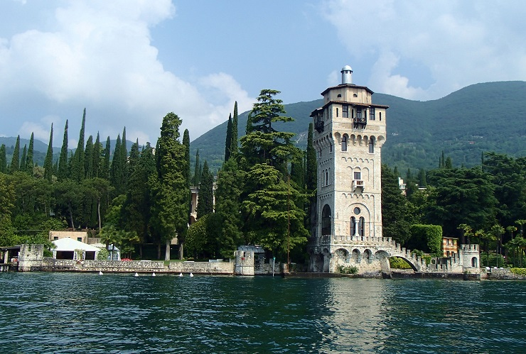 Ornate tower on the edge of the lake