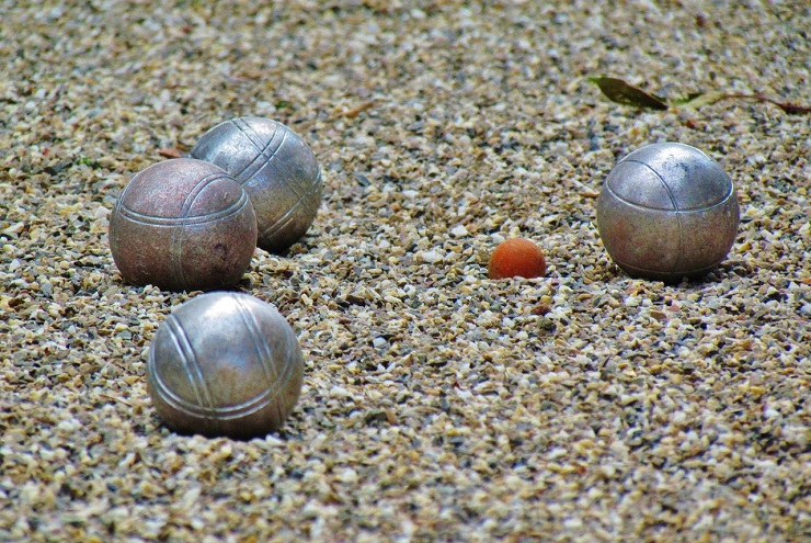 Close up of Petanque balls in the gravel