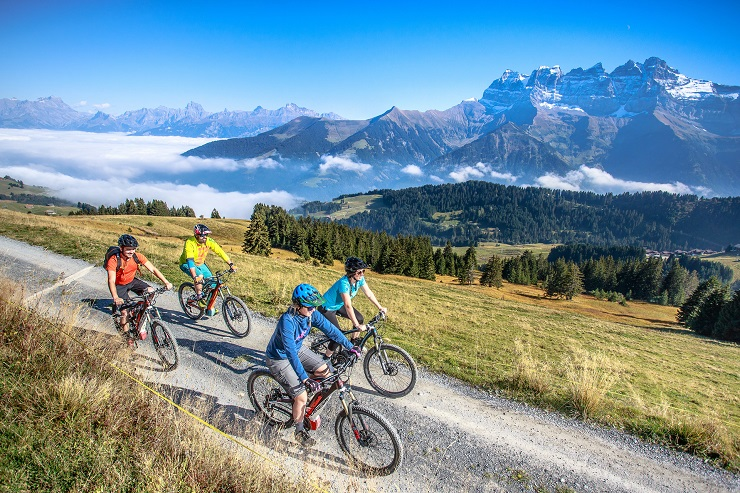 Mountain bike riders riding on a gravel road with the Swiss Alps in the background