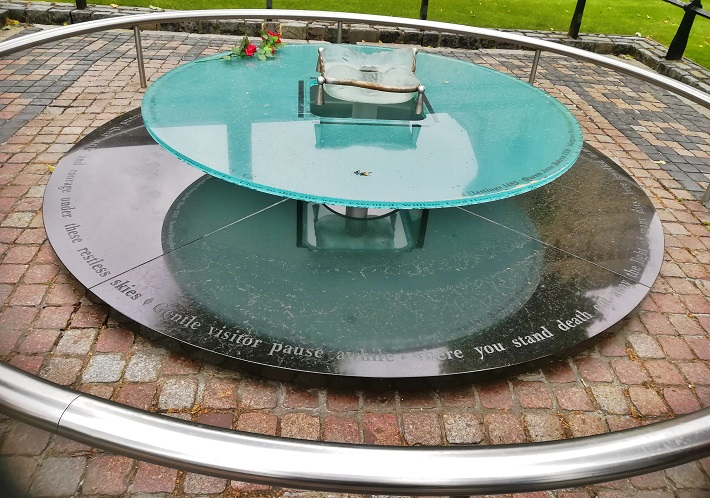 Glass memorial near the original site of many executions