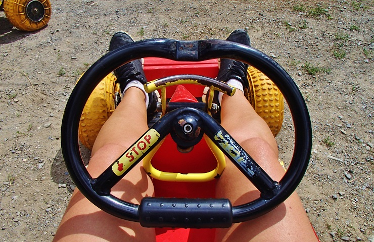 View of the go kart from the driver