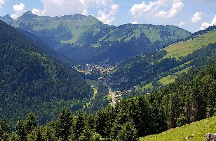 Morgins village in the valley below