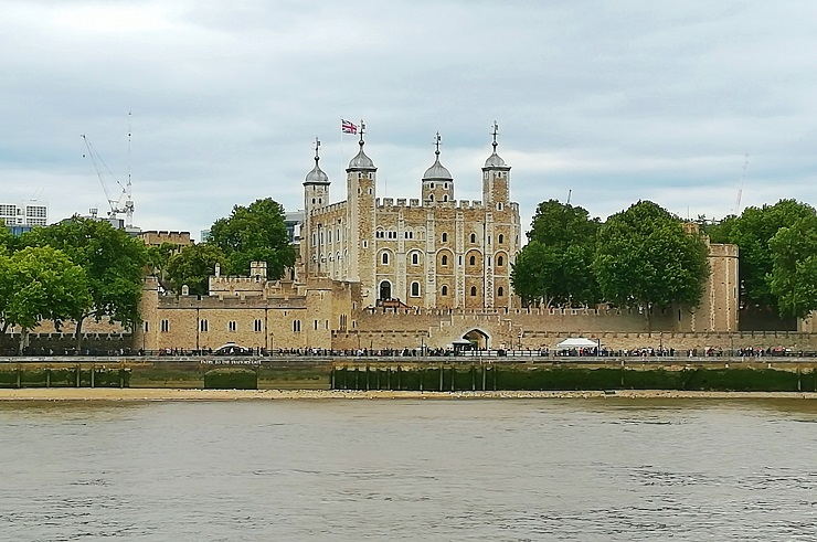 View of Tower of London from the opposite side of the Thames