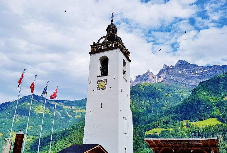 Bell tower in Champery Center Village Switzerland