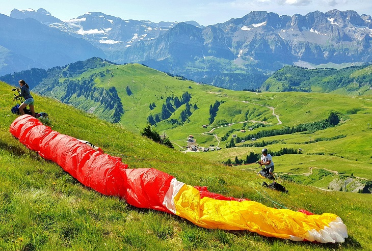Paragliding over the Swiss Alps Champery Switzerland