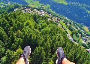 Paragliding summer Champery Switzerland