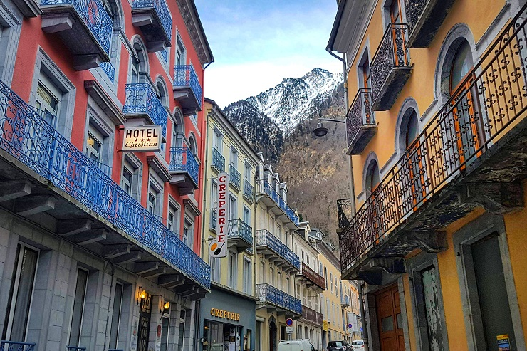 Colourful buildings in the village of Cauterets