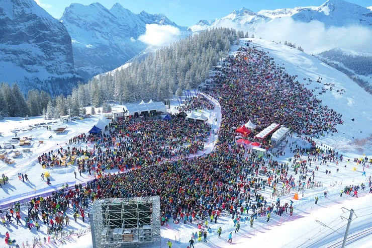 Crowd at Lauberhorn Ski Races Wengen Switzerland