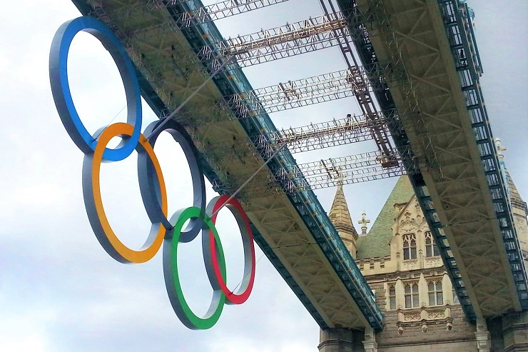 Olympic rings on Tower Bridge London England