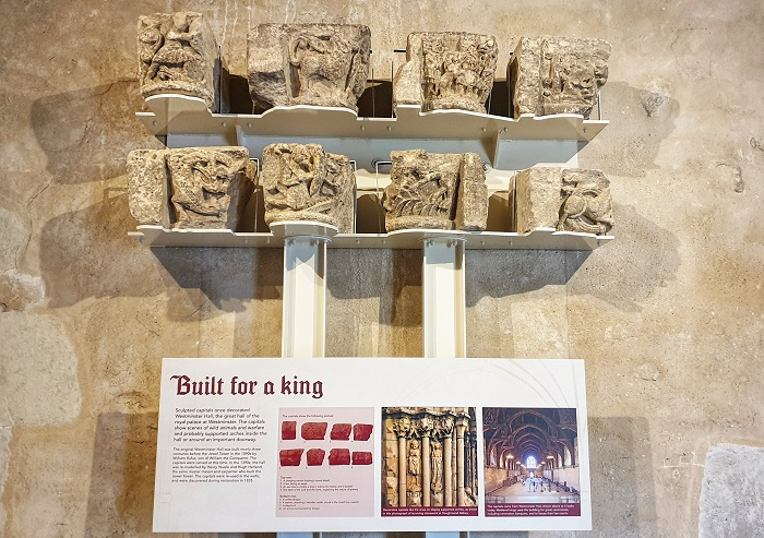 Eight sculpted limestone capitals The Jewel Tower London England History