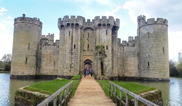 The entrance bridge across the most to Bodiam Castle Historical Sites England