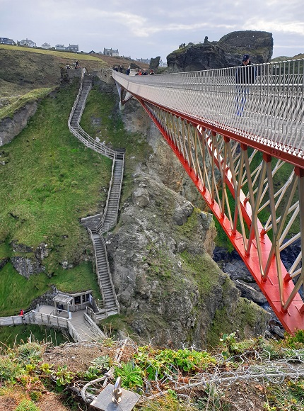 One of the top things to do at Tintagel castle is cross the bridge